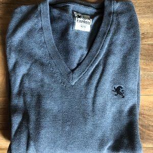 Express Men's Cotton Heather Gray V-Neck Sweater